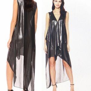 BCBG MAXAZRIA TARA CASCADE RUFFLE DRESS METALLIC